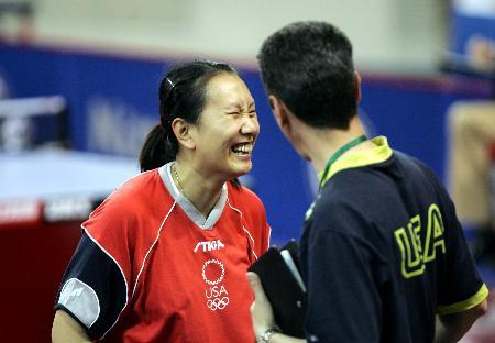 图文-世乒赛女子单打第三轮高军晋级笑容灿烂