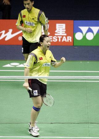 图文-苏迪曼杯中国首战胜瑞典赵婷婷为胜利欢呼