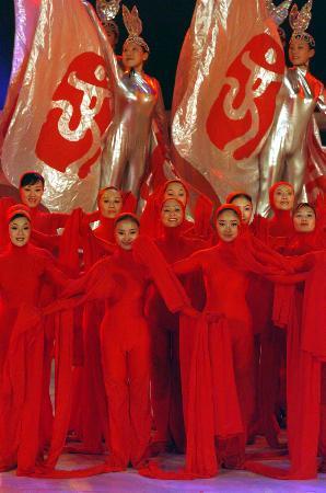 图文-北京2008奥运主题口号揭晓演员表演大型舞蹈