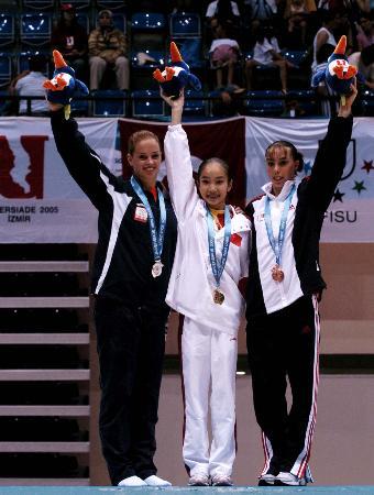 图文-世界大运会范晔体操全能封后前三名合影