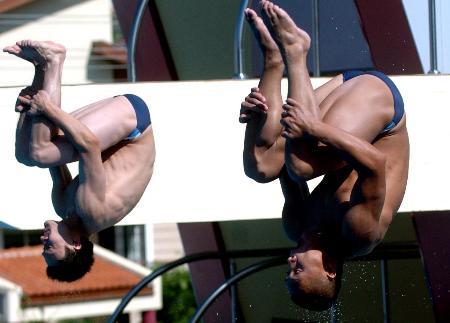 图文-世界大运会跳水彭勃/王克楠双人三米板称王
