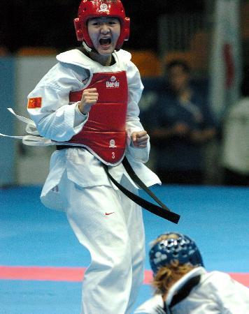 图文-刘蕊获跆拳道2公斤级金牌为胜利而怒吼