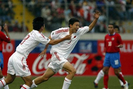 图文-[世少赛]中国1-1哥斯达黎加唐乃鑫庆祝进球
