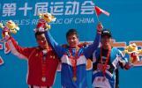 图文-十运男子BMX小轮车前三名登上领奖台