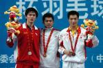 图文-十运会羽毛球比赛落下帷幕领奖台上三帅哥