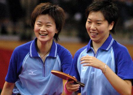 图文-乒球女双李晓霞彭陆洋夺冠赛后喜笑颜开