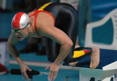 图文-十运会女子50米自由泳朱颖文冲下金牌