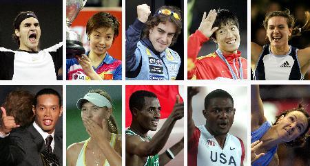 图文-新华社评2005国际体育十佳运动员合影