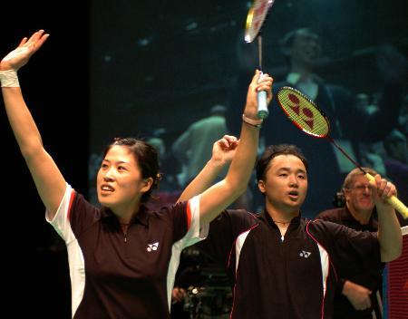 图文-全英羽毛球公开赛张军高��庆祝杀入决赛