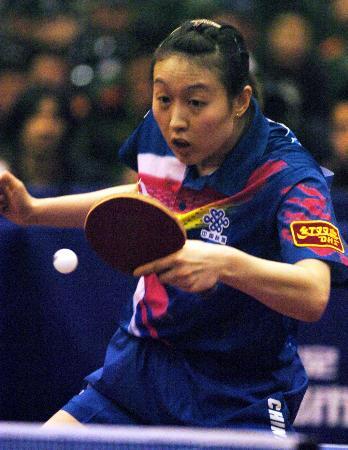 图文-国家女乒热身赛爆出冷门白杨全身心投入