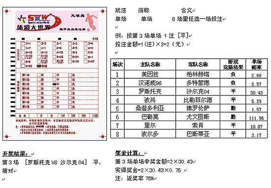 北京体彩中心单场赔率足球彩票-自选过关玩法介绍(4)