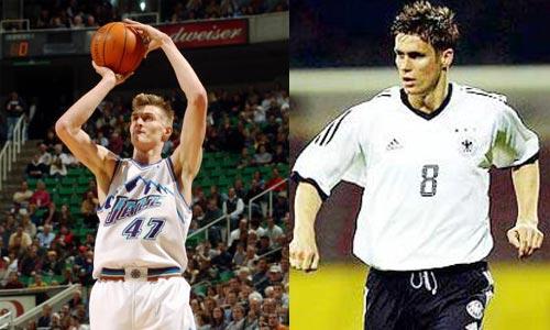 十大长得最像NBA球星和足球明星图片