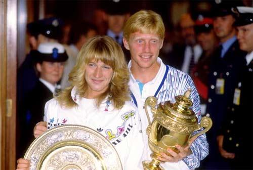 资料图片-格拉芙贝克尔1989年双双夺得温网冠