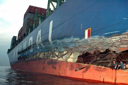 集装箱船图片_组图:长江口发生轮船相撞事故
