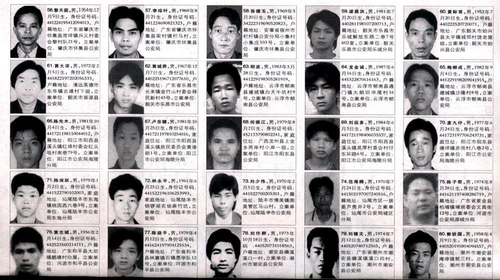 2015年网上通缉犯名单查询_通缉犯名单2015照片图片